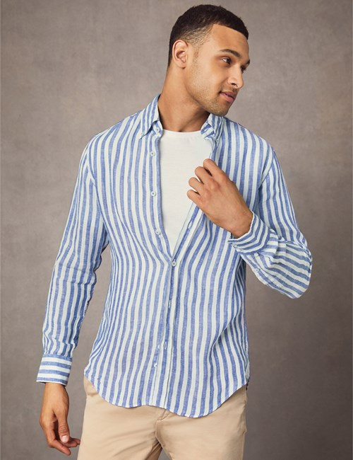 Men's Navy & White Stripe Slim Fit Linen Shirt - Single Cuff