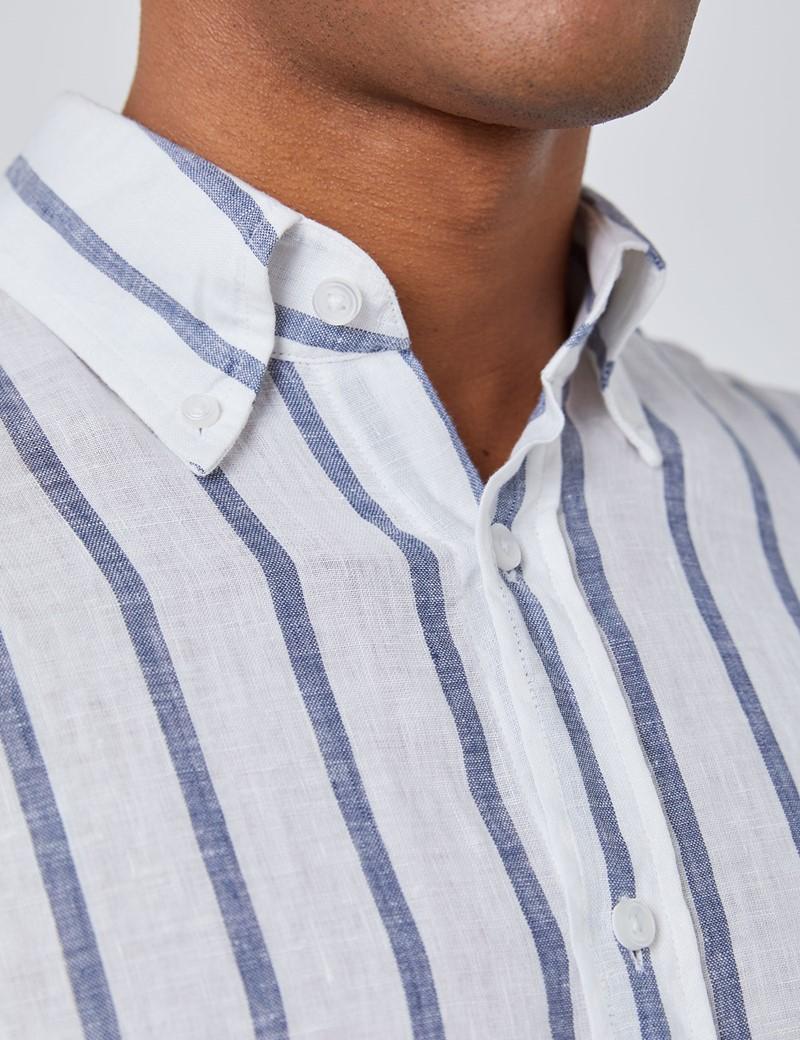 Men's White & Navy Stripe Slim Fit Linen Shirt  - Single Cuff