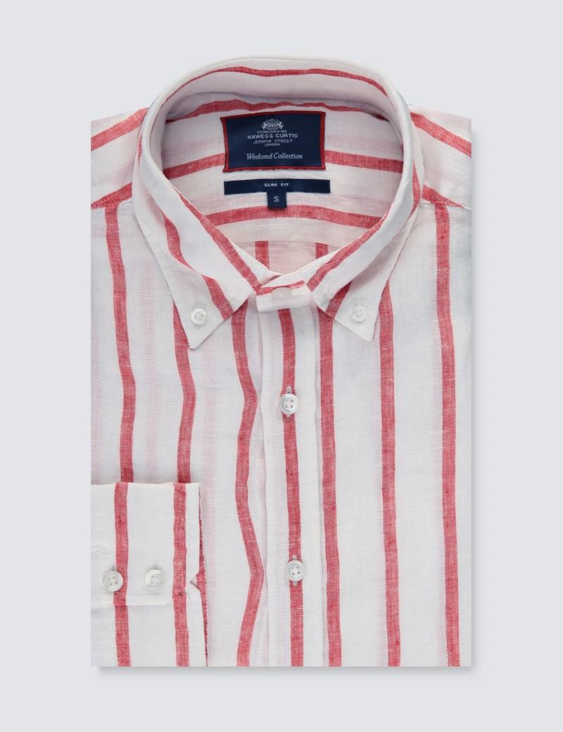 Leinenhemd – Slim Fit – Button-Down-Kragen – weiß mit roten Streifen