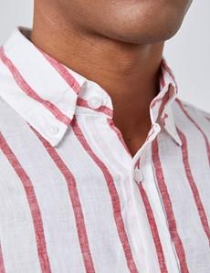 Men's White & Red Stripe Slim Fit Linen Shirt  - Single Cuff