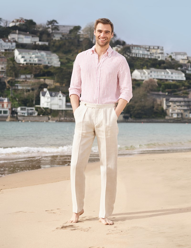 Men's Red & White Stripe Linen Shirt With Button-Down Collar