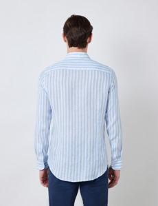 Men's Blue & White Stripe Linen Shirt With Button-Down Collar