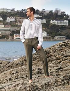 Men's Navy & White Stripe Linen Shirt With Full Cutaway Collar
