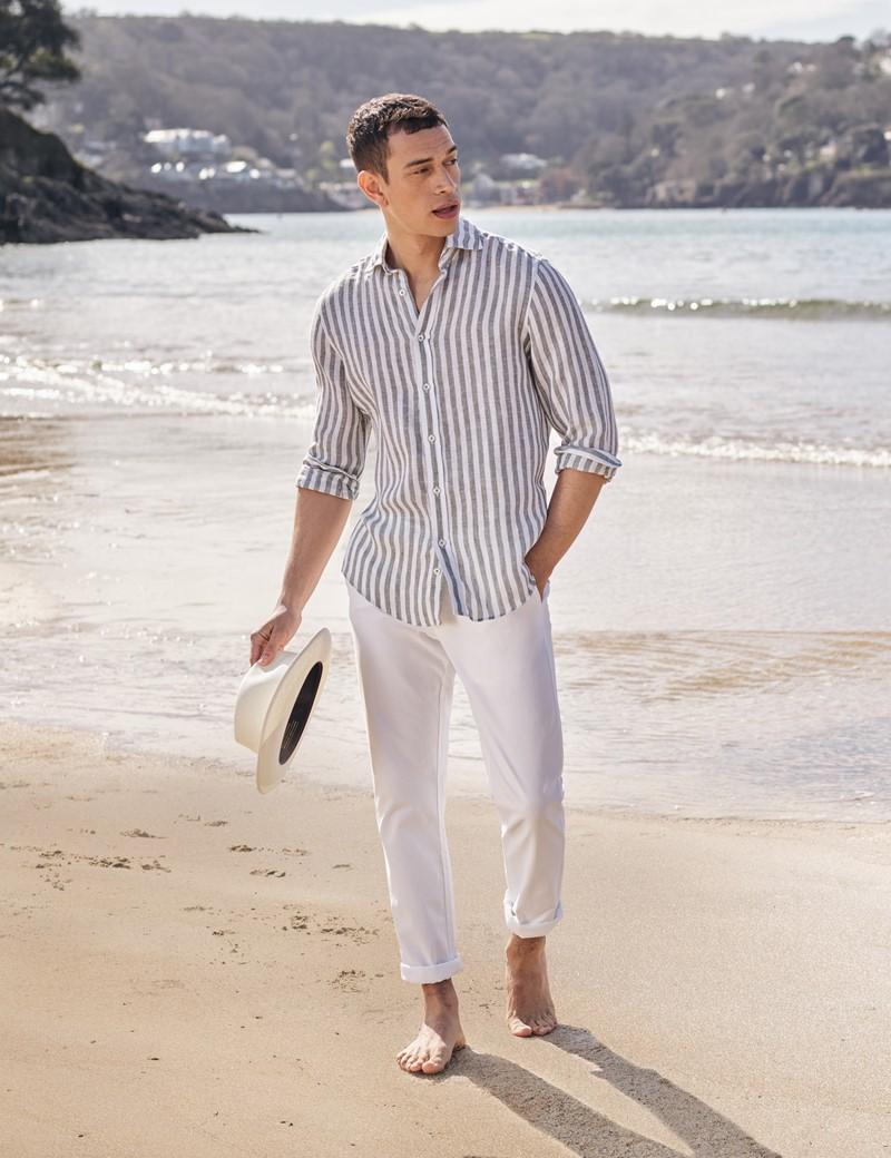 Men's Olive & White Stripe Linen Shirt With Full Cutaway Collar