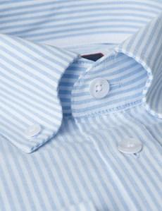 Business Hemd – Slim Fit – Button Down Kragen – Blau & weiß gestreift