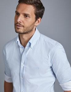 Men's Blue & White Bengal Stripe Slim Fit Shirt - Single Cuff - Button Down