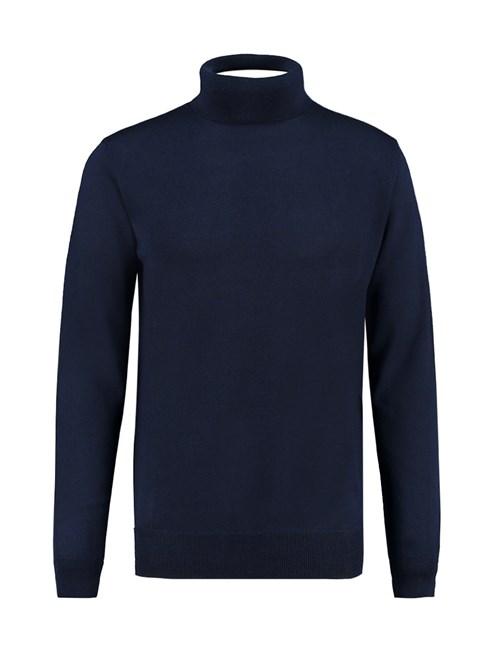 Men's Plain Navy Roll Neck Sweater - 100% Merrino Wool