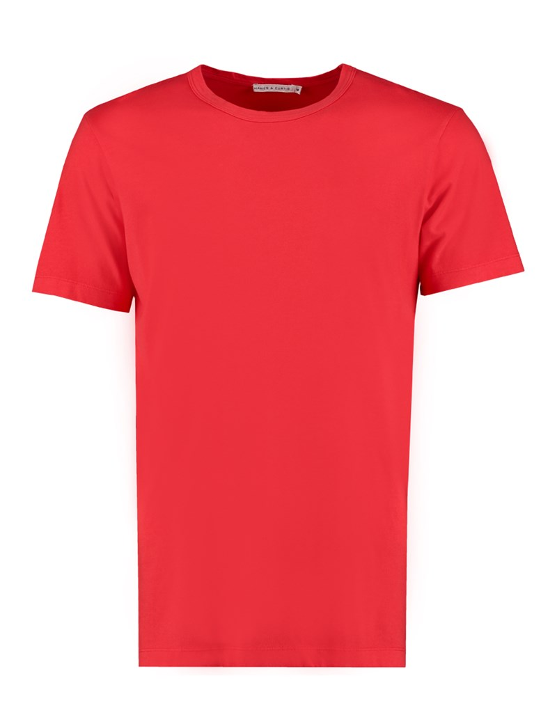 Men's Red Garment Dye Crew Neck T-Shirt -