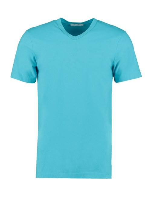 Men's Turquoise Garment Dye V Neck T-Shirt - 100% Supima Cotton