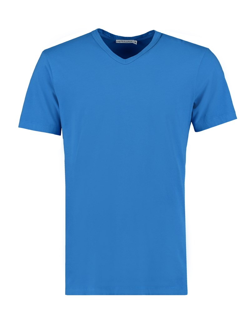Men's Cobalt Blue Garment Dye V Neck T-Shirt - 100% Supima Cotton