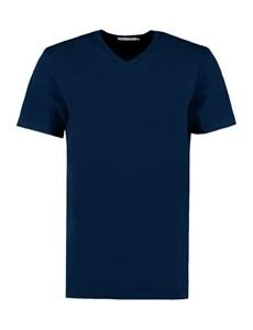 Men's Navy Garment Dye V Neck T-Shirt - 100% Supima Cotton