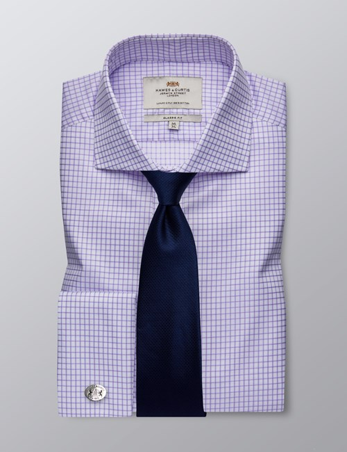 Men's Business Lilac & White Grid Plaid Classic Fit Cotton Shirt - Double Cuff - Windsor Collar - Easy Iron
