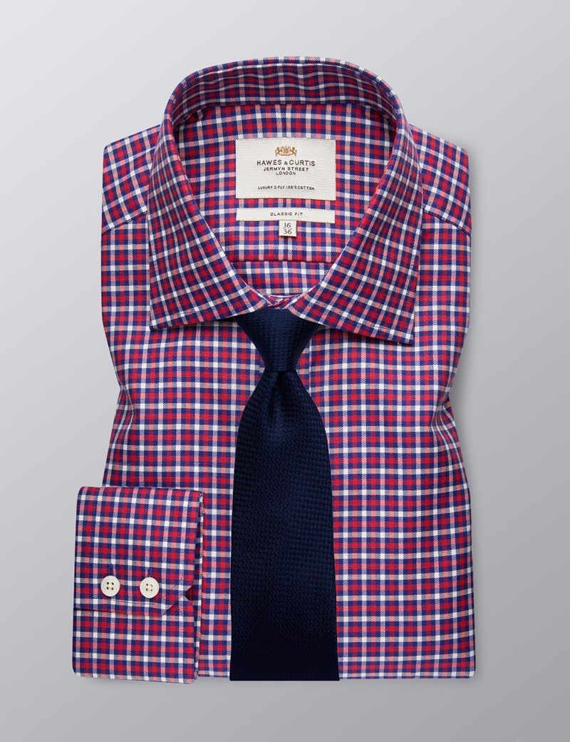 Men's Business Red & Navy Country Check Classic Fit Shirt - Single Cuff - Easy Iron