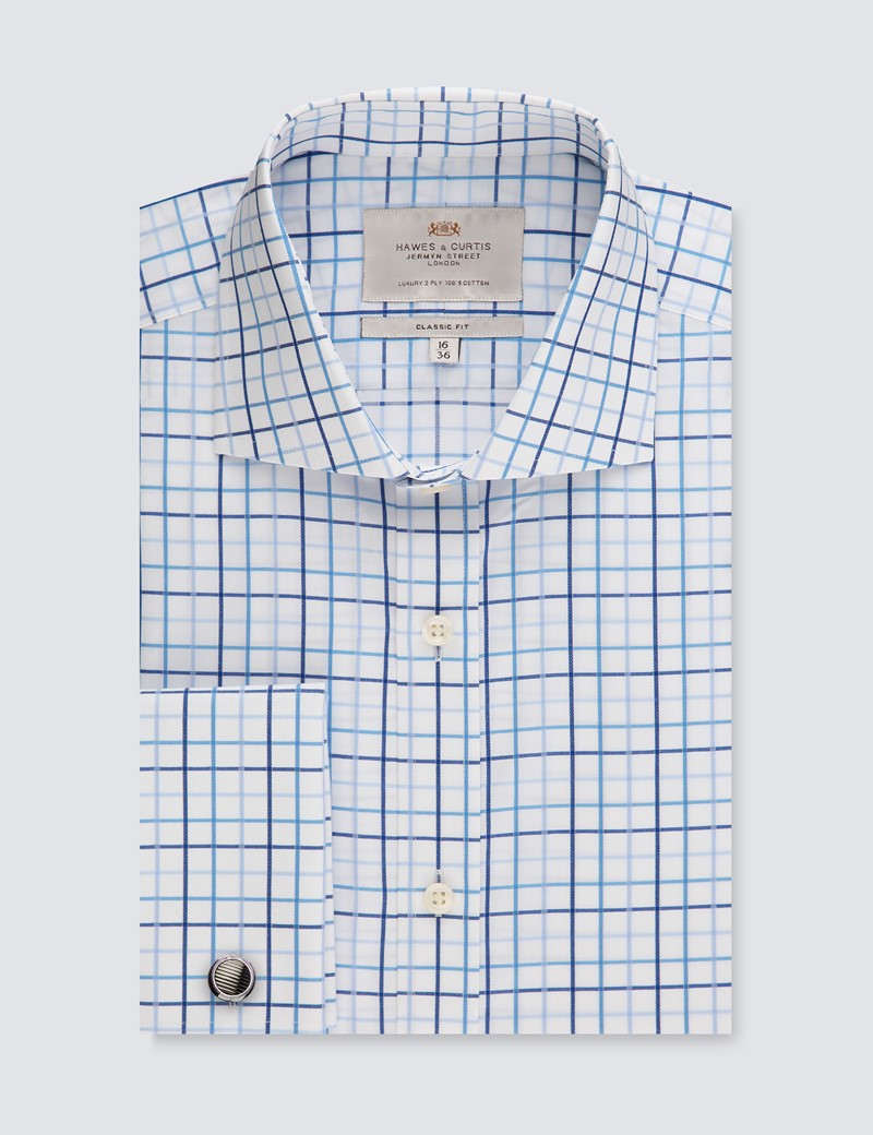 Men's Dress Blue & White Multi Plaid Classic Fit Shirt - Windsor Collar - French Cuff