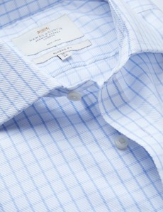 Non Iron Blue & White Check Classic Fit Shirt with Windsor Collar