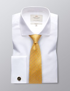 Men's White Poplin Classic Fit Cotton Dress Shirt - Windsor Collar - French Cuff - Easy Iron