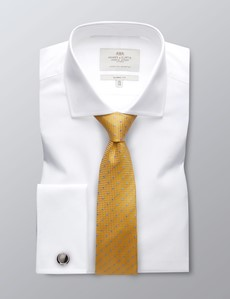 Men's Formal White Poplin Classic Fit Shirt - Windsor Collar - Double Cuff - Easy Iron