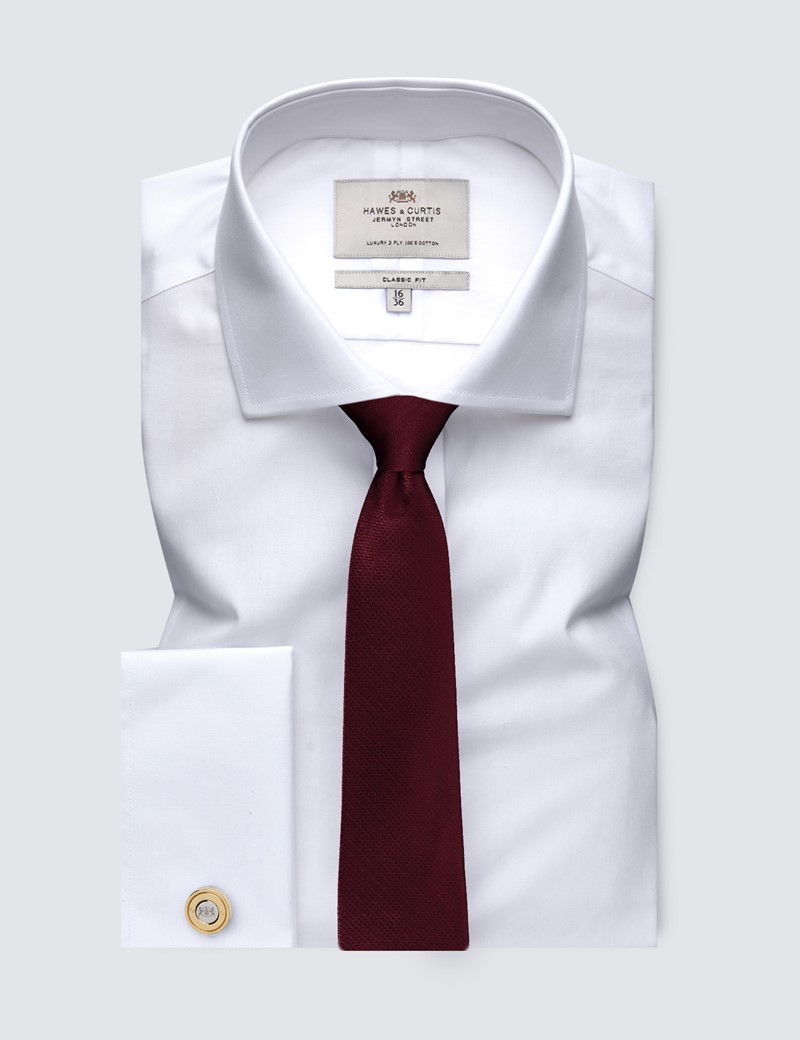 Men's White Poplin Classic Fit Cotton Dress Shirt - Windsor Collar - French Cuff - Easy Iron