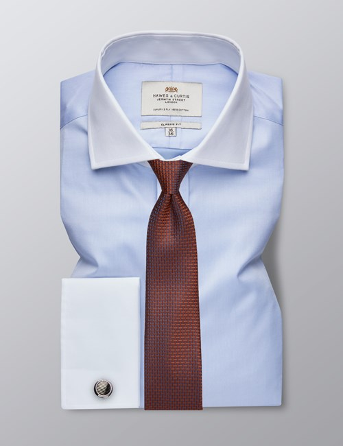 Men's Formal Blue Fine Twill Classic Fit Shirt - Double Cuff - Windsor Collar - Easy Iron