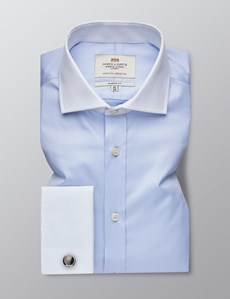 Men's Dress Blue Fine Twill Classic Fit Shirt - French Cuff - Windsor Collar - Easy Iron
