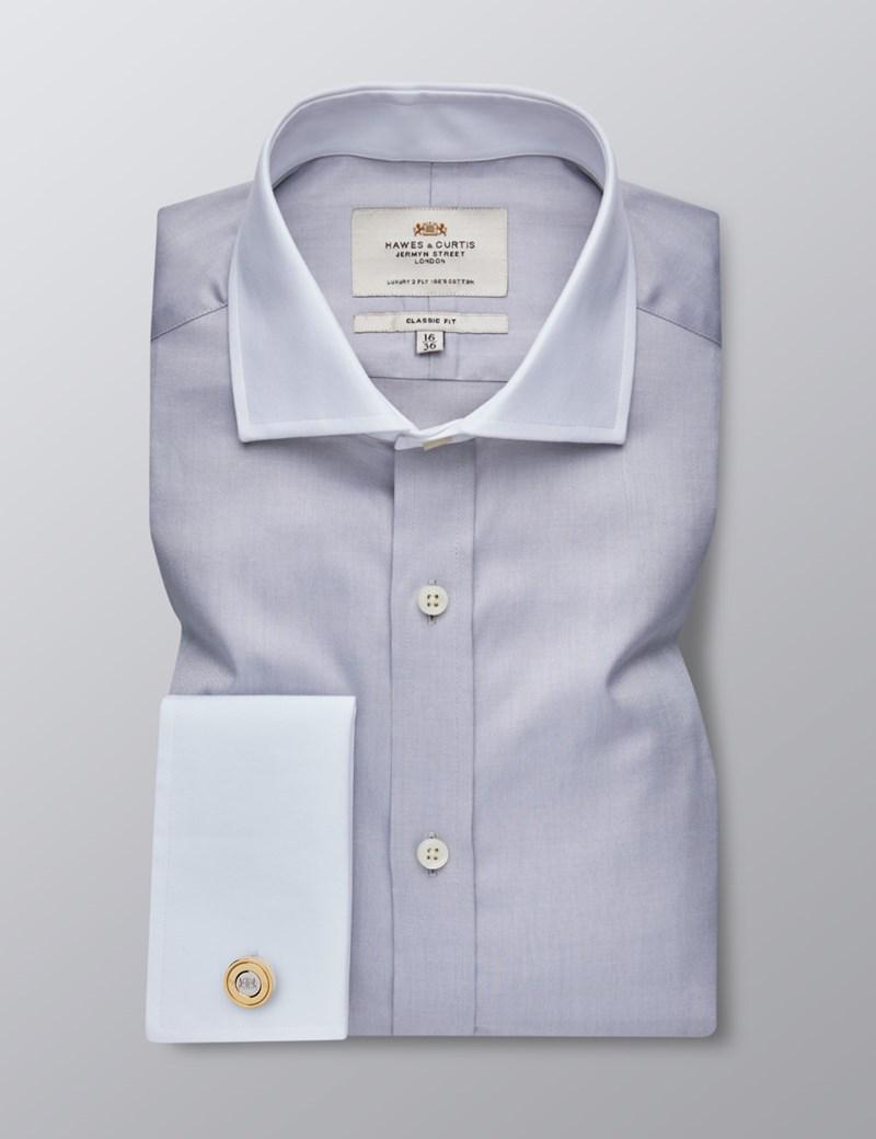 Bügelleichtes Businesshemd - Classic Fit - Manschetten - Feiner Twill grau mit Kontrasten