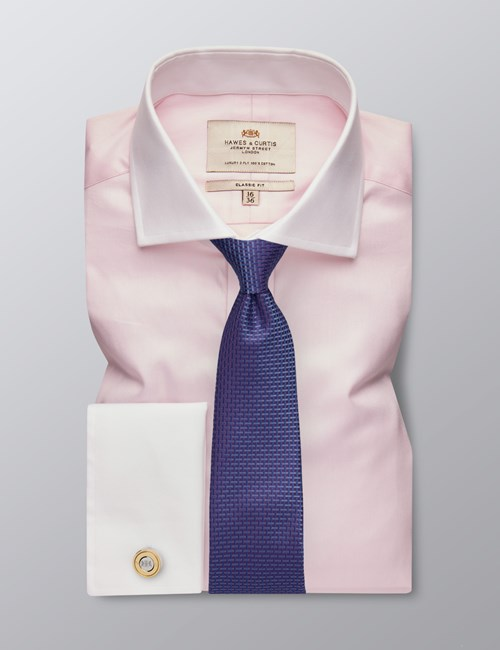 Men's Formal Pink Fine Twill Classic Fit Shirt - Double Cuff - Windsor Collar - Easy Iron