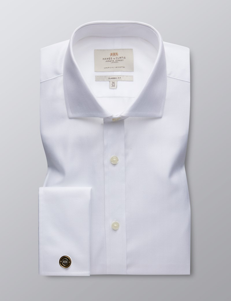 Men's  Dress White Herringbone Classic Fit Shirt - French Cuff - Windsor Collar - Easy Iron