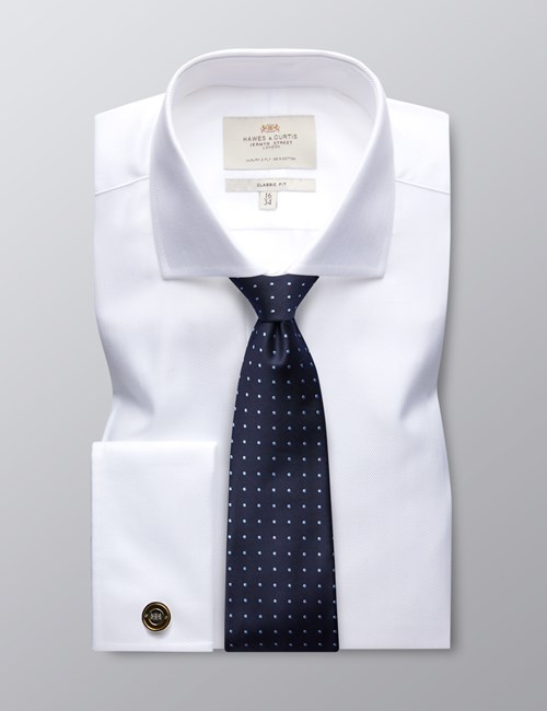Men's Formal White Herringbone Classic Fit Shirt - Double Cuff - Windsor Collar -  Easy Iron