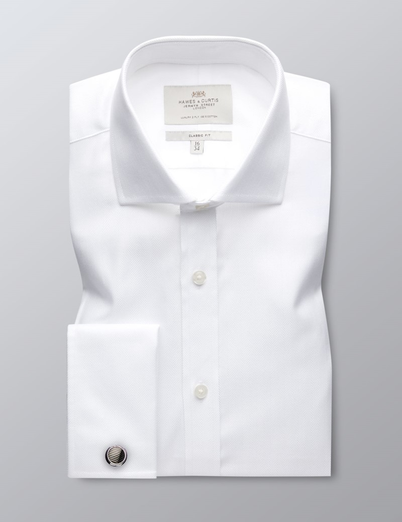 Men's Business White Herringbone Classic Fit Shirt - Windsor Collar - Double Cuff - Easy Iron