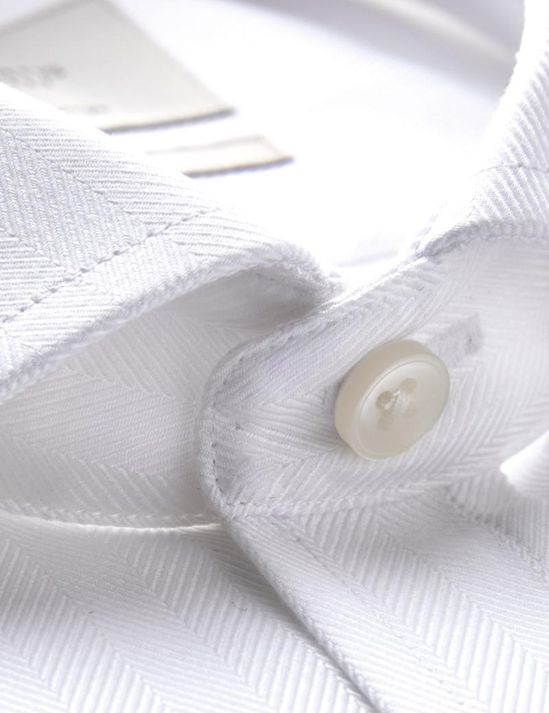 Men's Formal White Herringbone Classic Fit Shirt - Double Cuff - Windsor Collar -  Easy Iron
