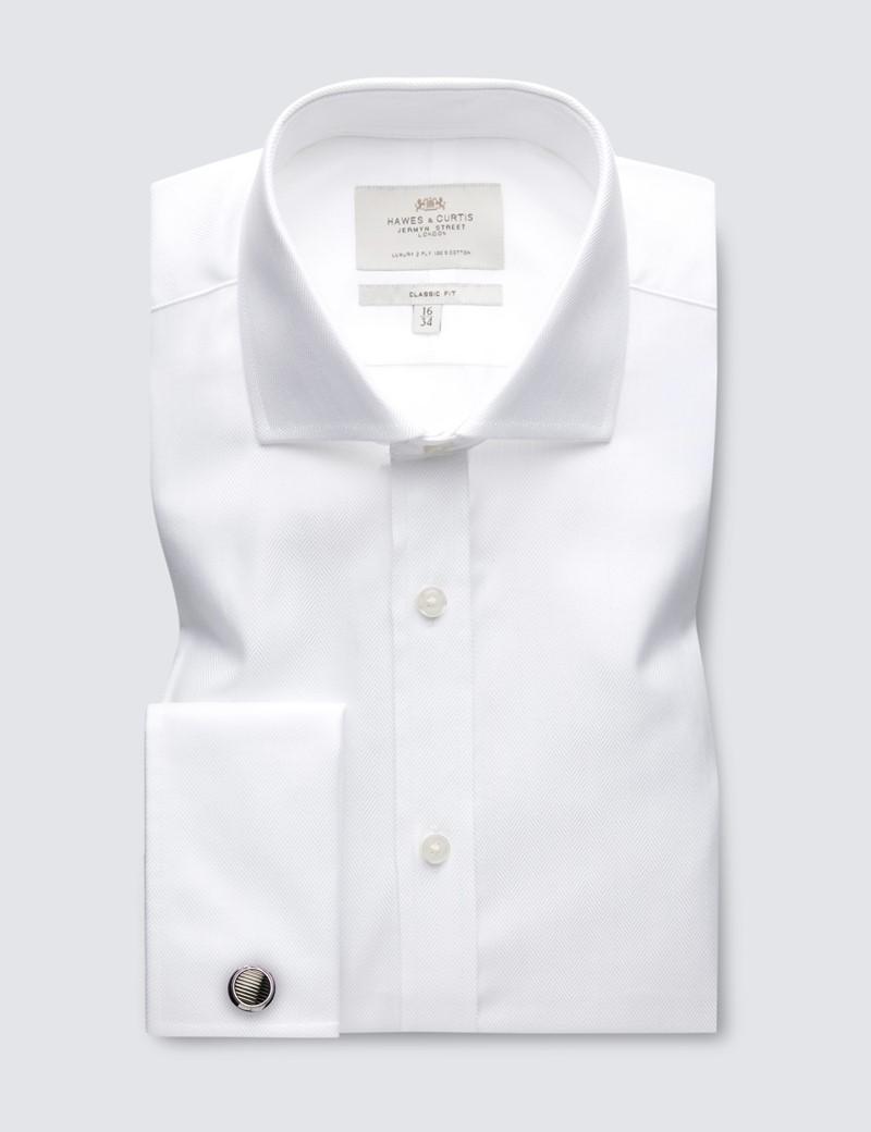 Men's  Dress White Herringbone Classic Fit Shirt - French Cuff - Windsor Collar - Easy Iron