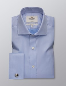 Men's Business Blue Twill Classic Fit Shirt with Windsor Collar and Double Cuffs - Non Iron
