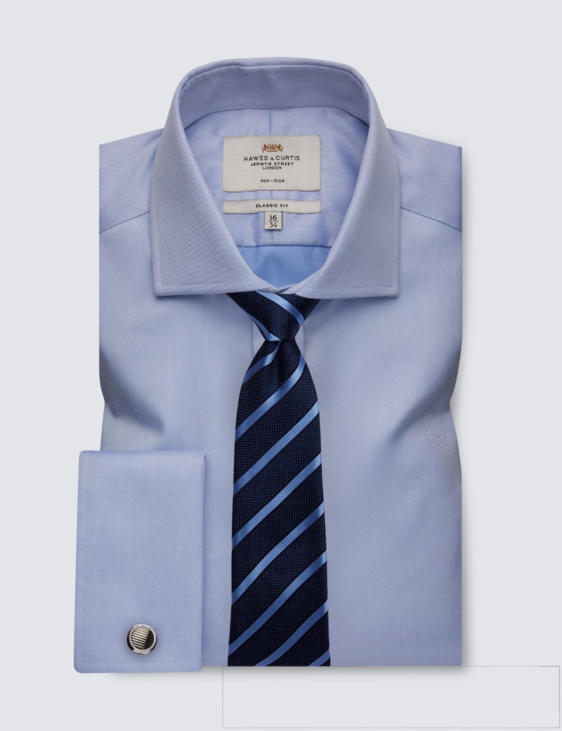 Bügelfreies Businesshemd – Classic Fit – Manschetten – Twill blau