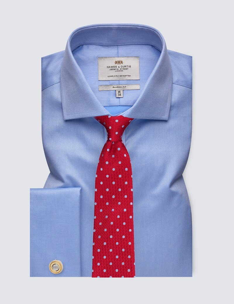Men's Dress Blue Pique Classic Fit Shirt with French Cuff and Windsor Collar - Easy Iron