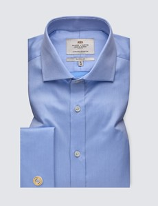 Men's Formal Blue Pique Classic Fit Shirt  with Windsor Collar and Double Cuffs - Easy Iron