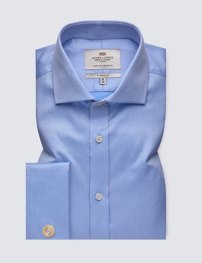 Bügelleichtes Businesshemd – Classic Fit – Manschetten – Piqué hellblau