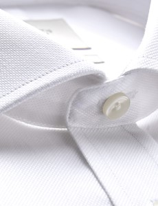 Men's Formal White Pique Classic Fit Shirt - Double Cuff - Windsor Collar - Easy Iron
