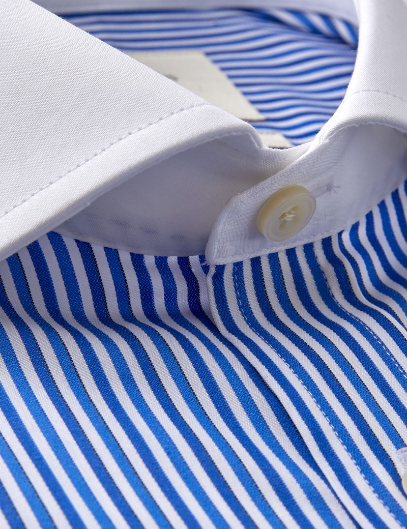 Men's Dress Navy & Blue Multi Stripe Classic Fit Shirt - French Cuff - Windsor Collar - Easy Iron