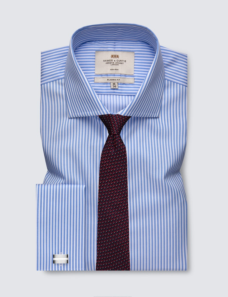 Men's Business Blue & White Bengal Stripe Classic Fit Shirt with Windsor Collar and Double Cuff - Non Iron