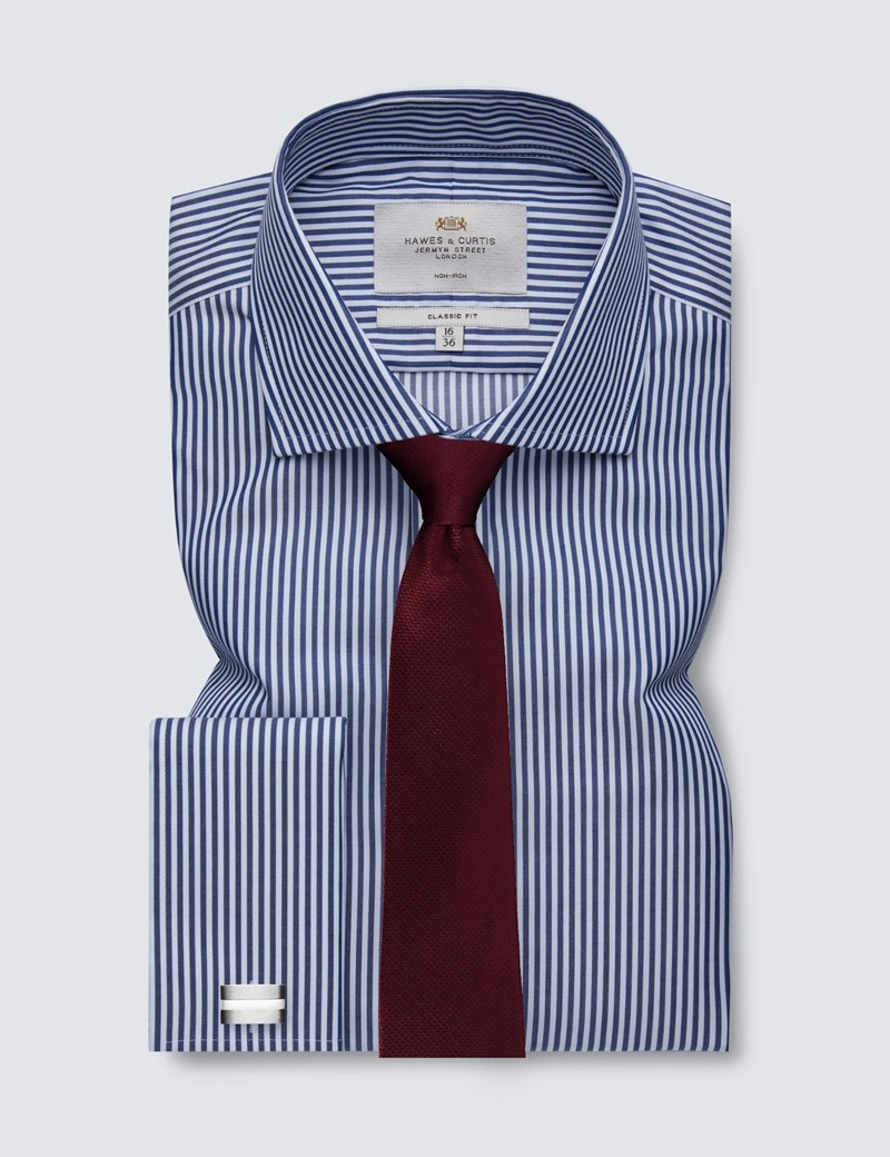 Men's Formal Navy & White Bengal Stripe Classic Fit Shirt with Windsor Collar and Double Cuff - Non Iron