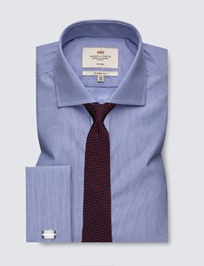 Men's Dress Blue & White Fine Stripe Classic Fit Shirt with Windsor Collar and French Cuff - Non Iron