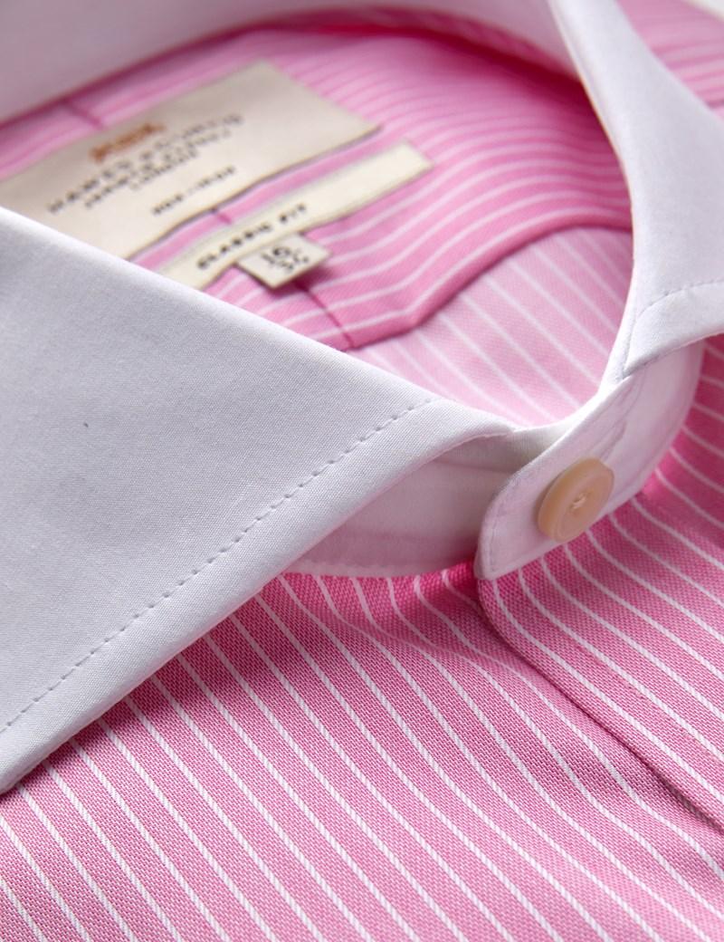 Bügelfreies Businesshemd - Classic Fit - Manschetten - Zweifarbig gestreift pink