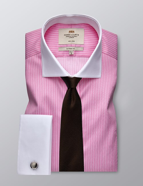 Men's Dress Pink & White Bi Color Stripe Classic Fit Shirt - French Cuff - Windsor Collar - Non Iron