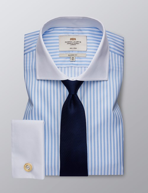 Men's Formal Light Blue & White Bengal Striped Classic Fit Shirt - Double Cuff - Windsor Collar - Non Iron
