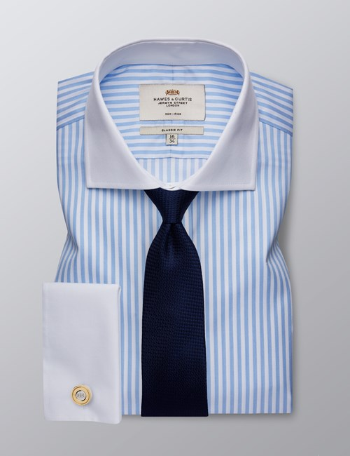 Men's Dress Light Blue & White Bengal Striped Classic Fit Shirt - French Cuff - Windsor Collar - Non Iron