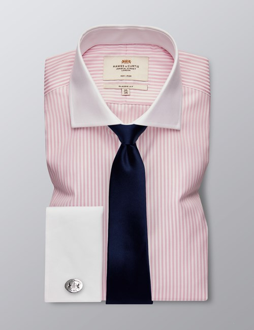 Men's Formal Pink & White Bengal Striped Classic Fit Shirt - Double Cuff - Windsor Collar - Non Iron