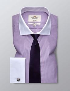 Men's Formal Lilac & White Fine Stripe Classic Fit Shirt - Double Cuff - Windsor Collar - Non Iron