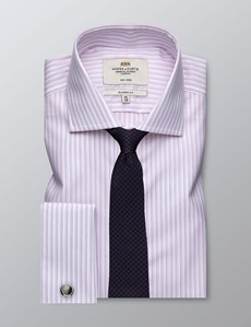 Men's Dress Pink & White Multi Stripe Classic Fit Shirt - French Cuff - Windsor Collar - Non Iron
