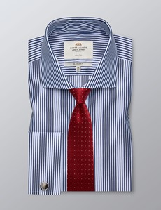 Men's Formal White & Navy Bengal Stripe Classic Fit Shirt - Double Cuff - Windsor Collar - Non Iron