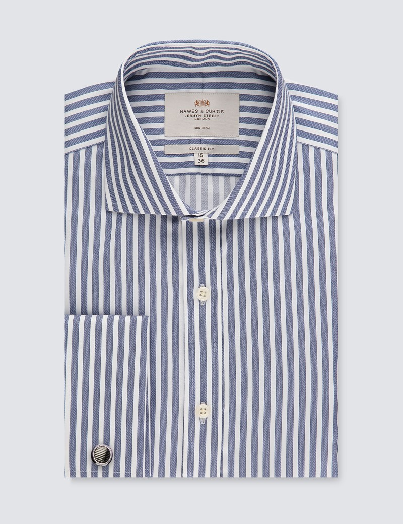 Men's Business Navy & White Bengal Stripe Classic Fit Shirt - Double Cuff - Windsor Collar - Non Iron